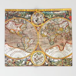 Old world throw blankets society6 vintage world map throw blanket gumiabroncs Gallery