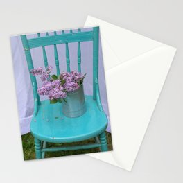 Lilacs in turquoise chair Stationery Cards