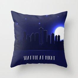 Seattle skyline silhouette at night, Washington, United States Throw Pillow