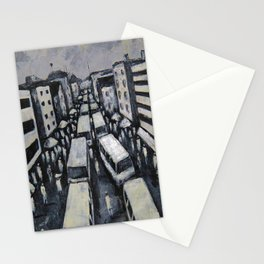 Charcoal Painting of Buildings, People Yellow Buses  Architecture in Lagos Africa  Stationery Cards
