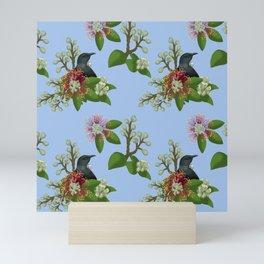 Tui in Pohutukawa Flowers Mini Art Print