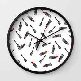 watercolor white cosmetic set Wall Clock