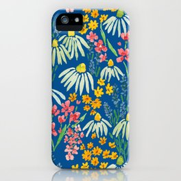 Wildflowers Watercolor on Blue by Lindsay Brackeen iPhone Case