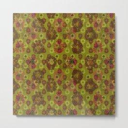 Lotus flower - curry green woodblock print style pattern Metal Print
