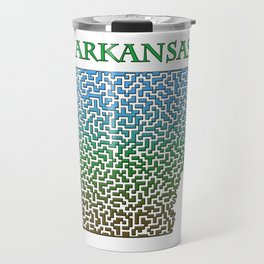 Arkansas State Outline Colorful Maze & Labyrinth Travel Mug