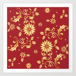 Floral Red Gold Stars Christmas Party Metallic Art Print