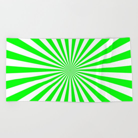 Starburst (Green/White) Beach Towel