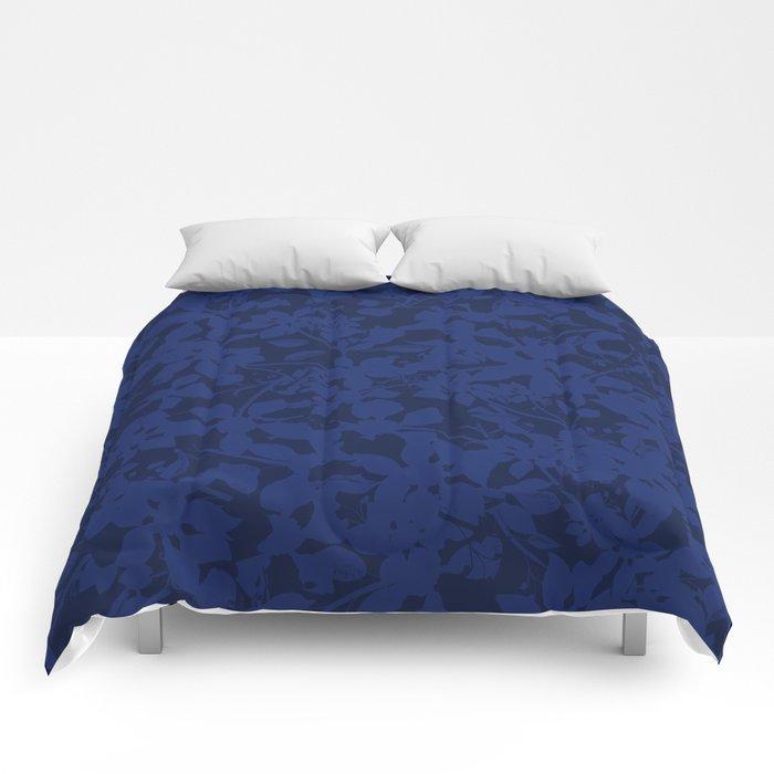 Blue on Blue - Broken but Flourishing Botanical Pattern Comforters