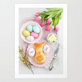 Easter breakfast table Art Print