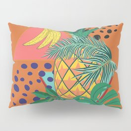 Geometric pineapple with tropical leaves and fruits retro design Pillow Sham