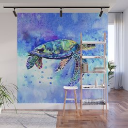 Sea Turtle, Underwater Scene Wall Mural