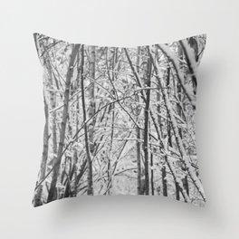Woodland snow Throw Pillow
