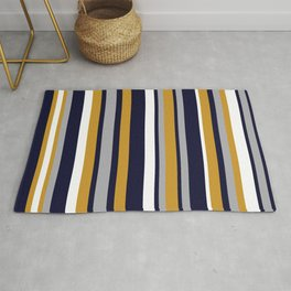 Modern Stripes in Mustard Yellow, Navy Blue, Gray, and White. Minimalist Color Block Rug