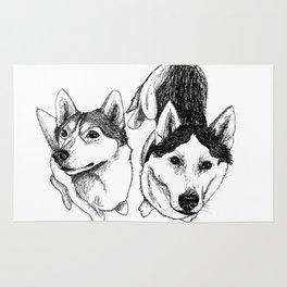 A Pair of Siberian Huskies Rug