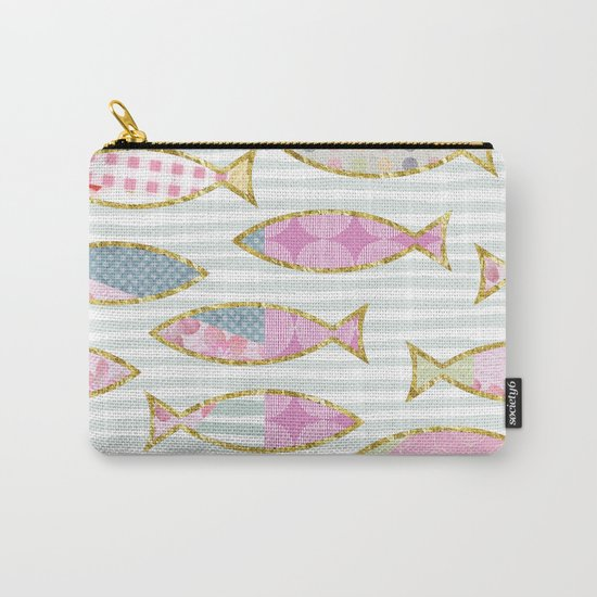 Fancy Fish pastel patchwork pattern Carry-All Pouch