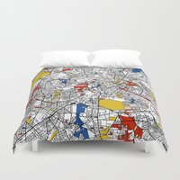 mondrian Duvet Covers featuring Berlin mondrian by Mondrian Maps