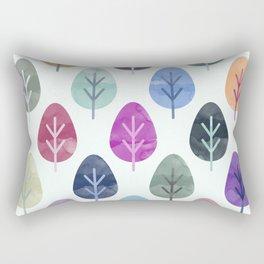 Watercolor Forest Pattern Rectangular Pillow