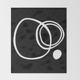 Black and White Circles Abstract Modern Throw Blanket