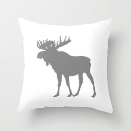 Moose: Grey Throw Pillow