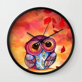Owl's First Fall Leaf Wall Clock