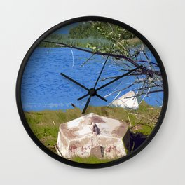 Painterly Photo Illustration Small Boat in Grass Under Summer Sun, Cape Cod Wall Clock