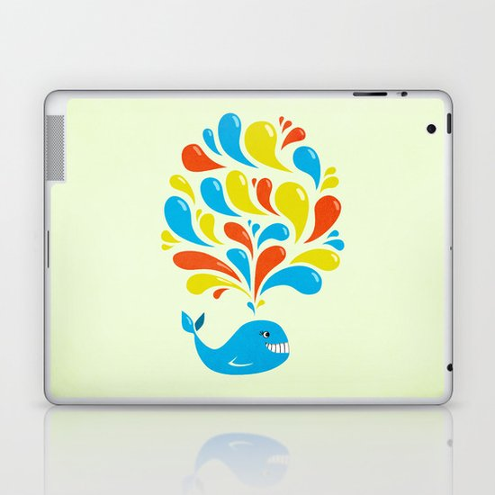 Colorful Swirls Happy Cartoon Whale Laptop & iPad Skin