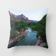 End Of Day Virgin River (Zion National Park, Utah) Throw Pillow