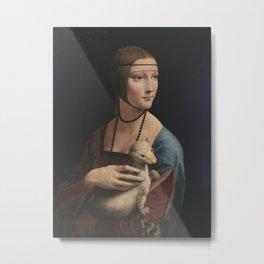 Leornardo da Vinci - Lady with an Ermine Metal Print