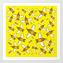 Bees on Yellow Art Print