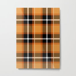 Orange + Black Plaid Metal Print