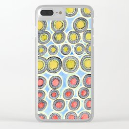 Yellow and Red Sunshine Pattern Clear iPhone Case