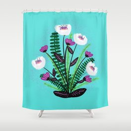 Green and Purple Bouquet Shower Curtain