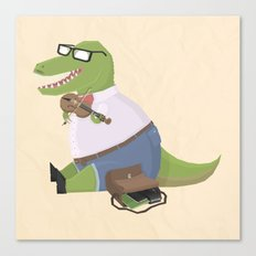 Hipster Dinosaur Jammin' on his Fiddle Canvas Print