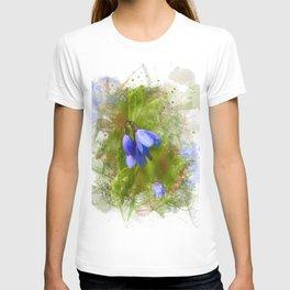 Pretty bluebells on white T-shirt