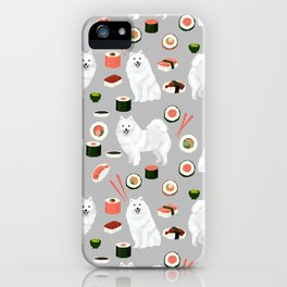 Japanese Spitz sushi kawaii dog portrait custom pet lover pattern by pet friendly iPhone Case