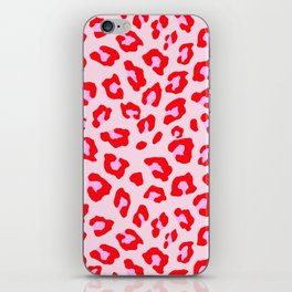 Leopard Print - Red And Pink iPhone Skin