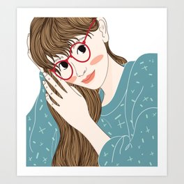 Woman with glasses is stroking her hairstyle. Art Print