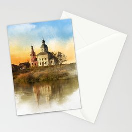 The Church of Elijah the prophet on mount Ivan in Suzdal. Evening landscape. The Golden Ring Of Russ Stationery Cards