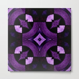 Stained Glass Collection III Passionate Purple Metal Print