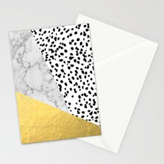 Marble Gold Dots - modern hipster trendy shiny gold foil cell phone case iphone dorm college Stationery Cards