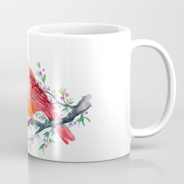 Watercolor red cardinal on berry branch Coffee Mug