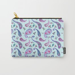 Paisley Rain Aqua Carry-All Pouch