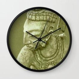 mayan nobleman green Wall Clock