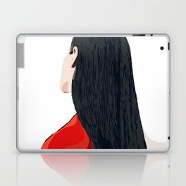 White and Red Girl with Long Hair Minimalist Vector Illustration Portrait Laptop & iPad Skin