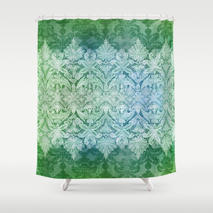 ABERDEEN HEIRLOOM LACY DAMASK OLD KELLY GREEN Shower Curtain By Nancylorene