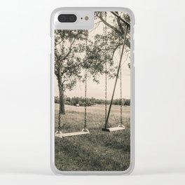 Swingset at the Church, North Dakota 5 Clear iPhone Case