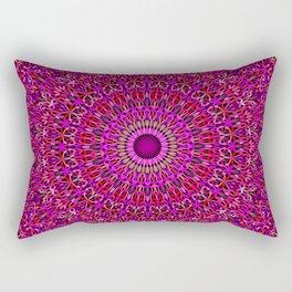 Deep Pink Garden Mandala Rectangular Pillow