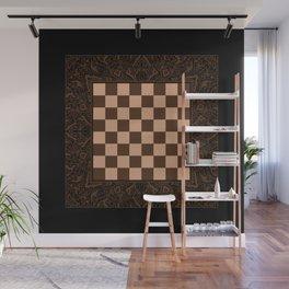 Mandala Chessboard & Checkers Board Game - Coffee  Cream Wall Mural