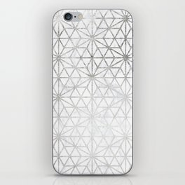 Modern silver stars geometric pattern Christmas white marble iPhone Skin