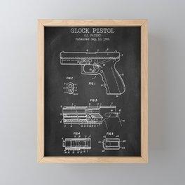 Pistol chalkboard patent Framed Mini Art Print